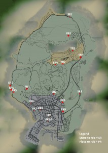 GTA 5 shops that can be robbed map locations