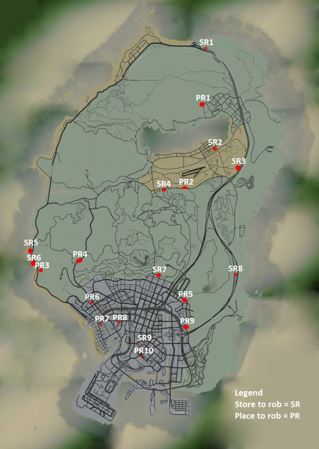 gta 5 shops that can be robbed map locations gosu noob gaming guides. Black Bedroom Furniture Sets. Home Design Ideas