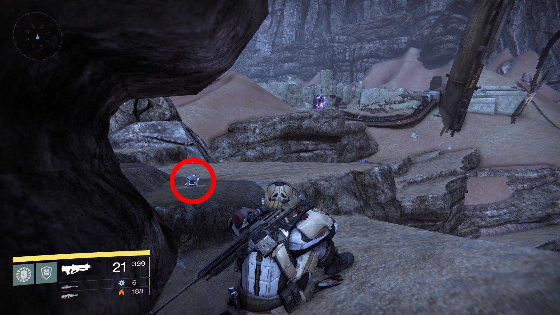 Dead ghost is on a small platform close to a huge ruined portal