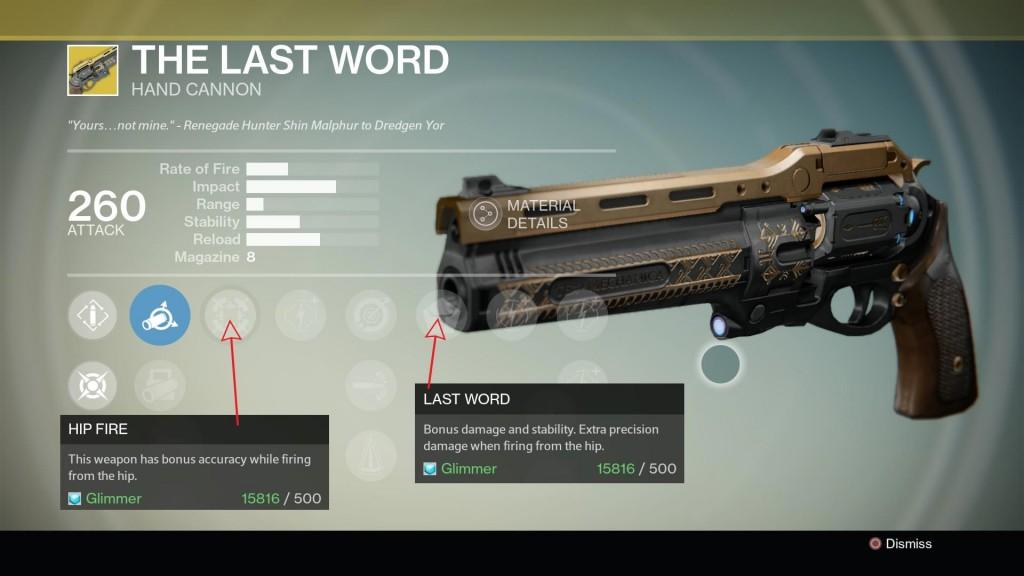 xur the last word exotic handgun look stats
