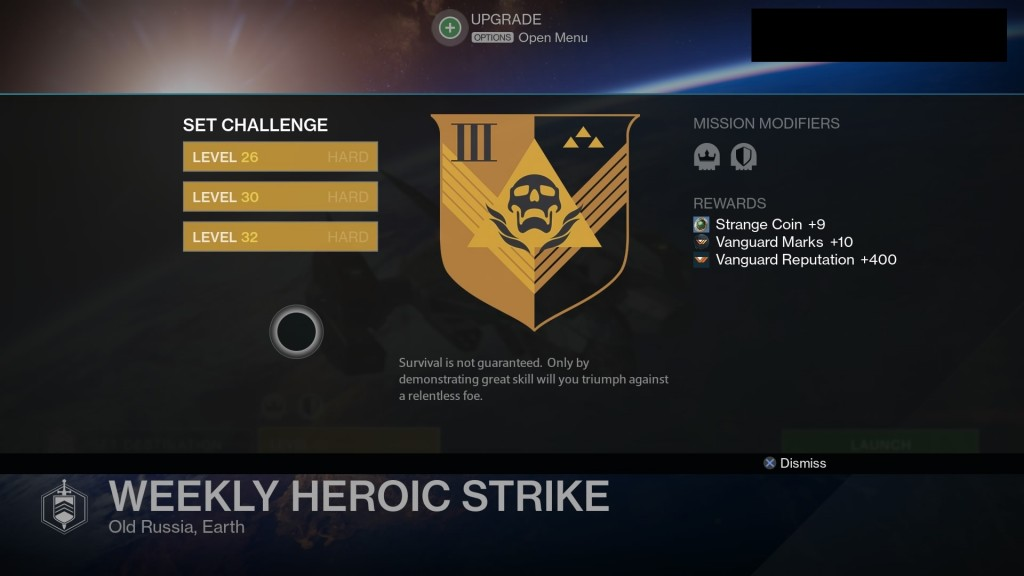 No Destiny Strike Matchmaking Heroic Weekly fight