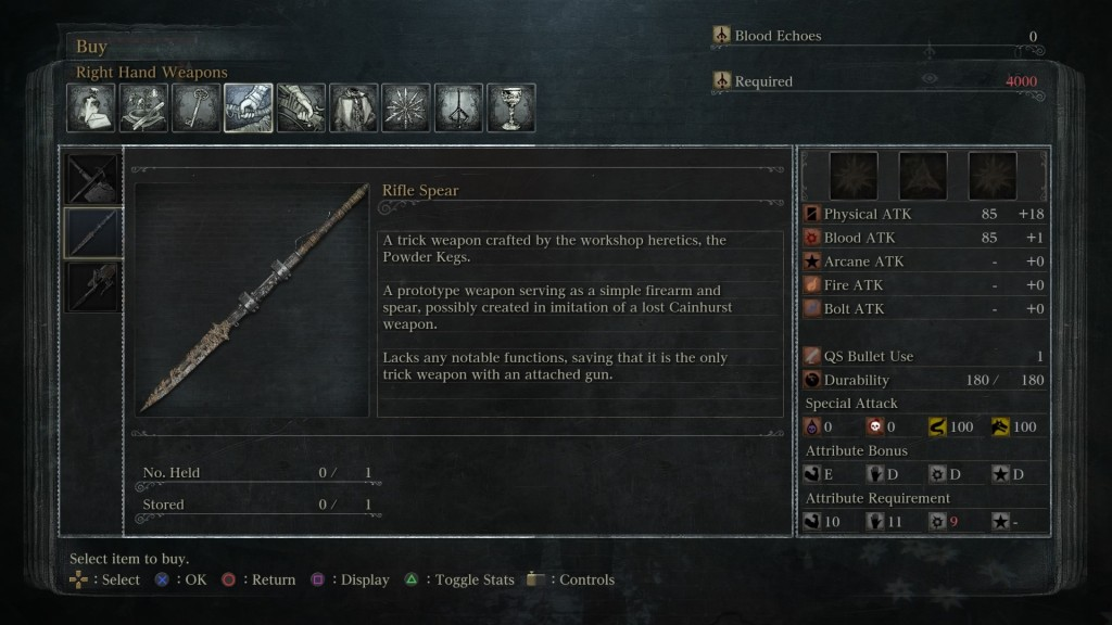 Bloodborne Weapons Rifle Spear Location And Stats Guide