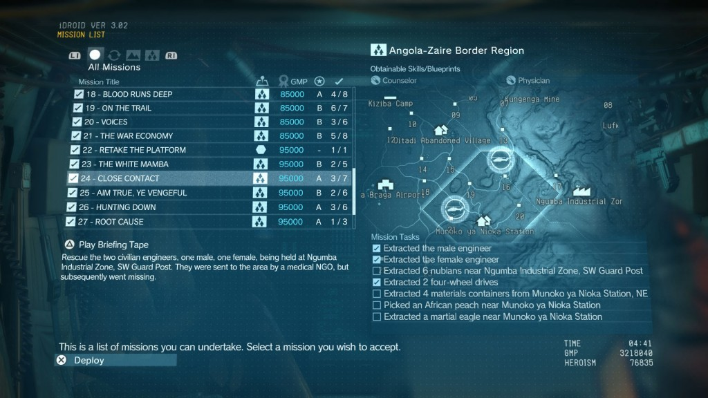Close Contact MGSV Guide