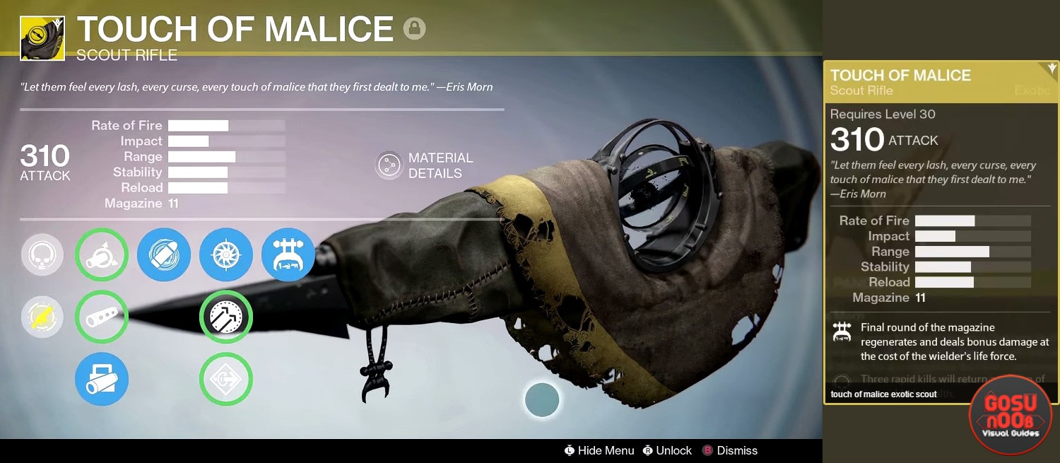 Destiny touch of malice exotic scout rifle guide