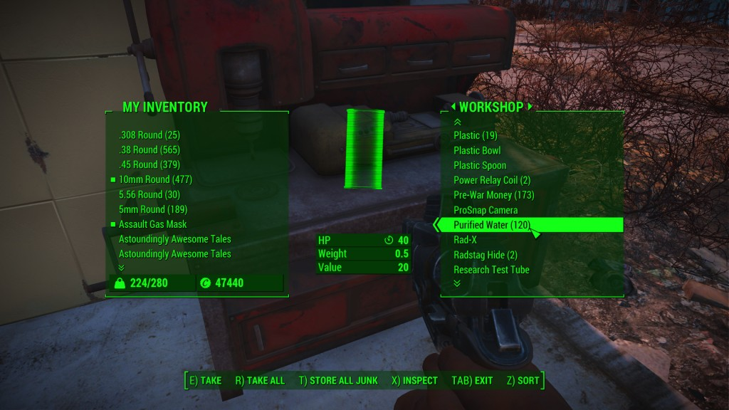 Fallout 4 purified water workshop inventory