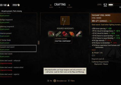 witcher 3 toussaint steel sword