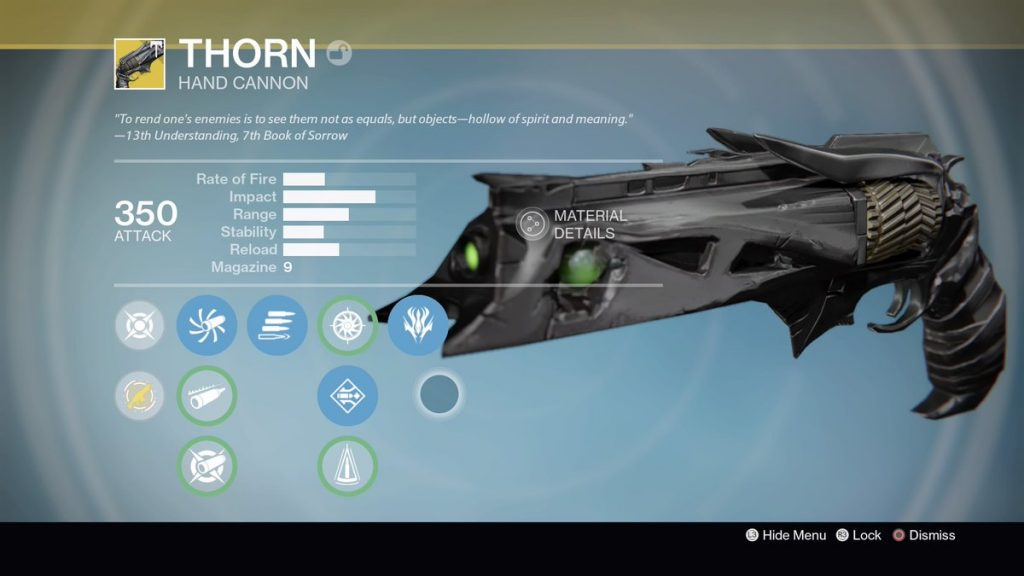 thorn exotic hand cannon quest destiny rise of iron
