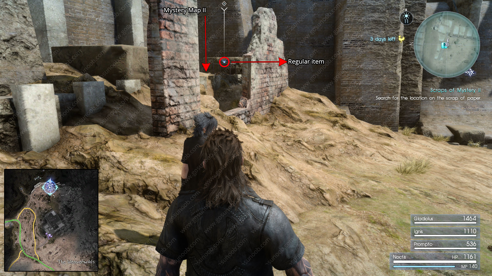 scraps of mystery ii map location ffxv