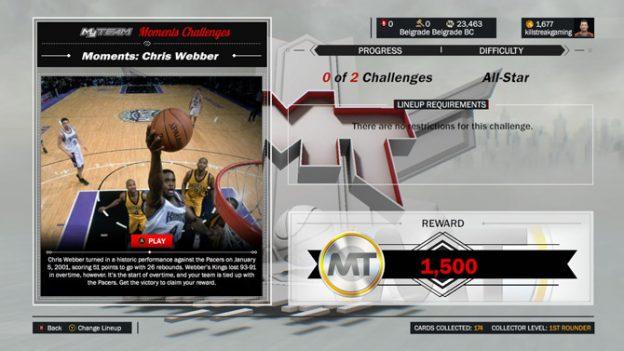 NBA 2K17 New Moments Challenge Chris Webber
