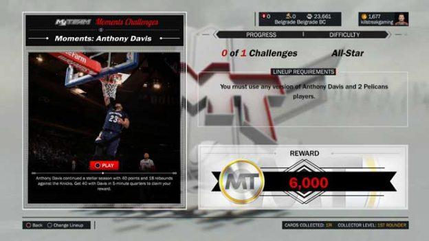 Nba 2k17 New Anthony Davis Moments Challenge