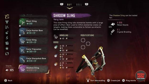 horizon zero dawn weapons list