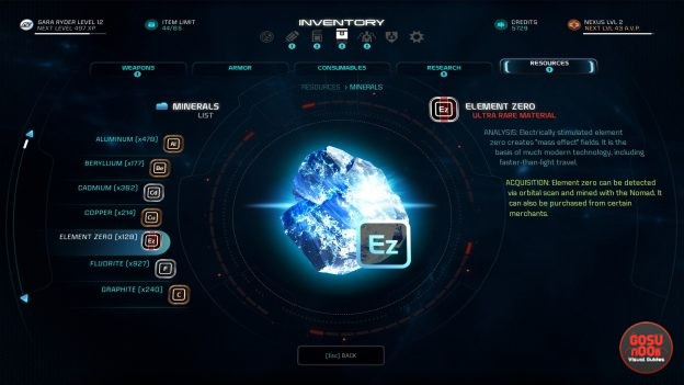 Mass Effect Andromeda Where to Find Element Zero, Titanium, Platinum, Vanadium, Eiroch Fluid Sacs Rare Crafting Materials