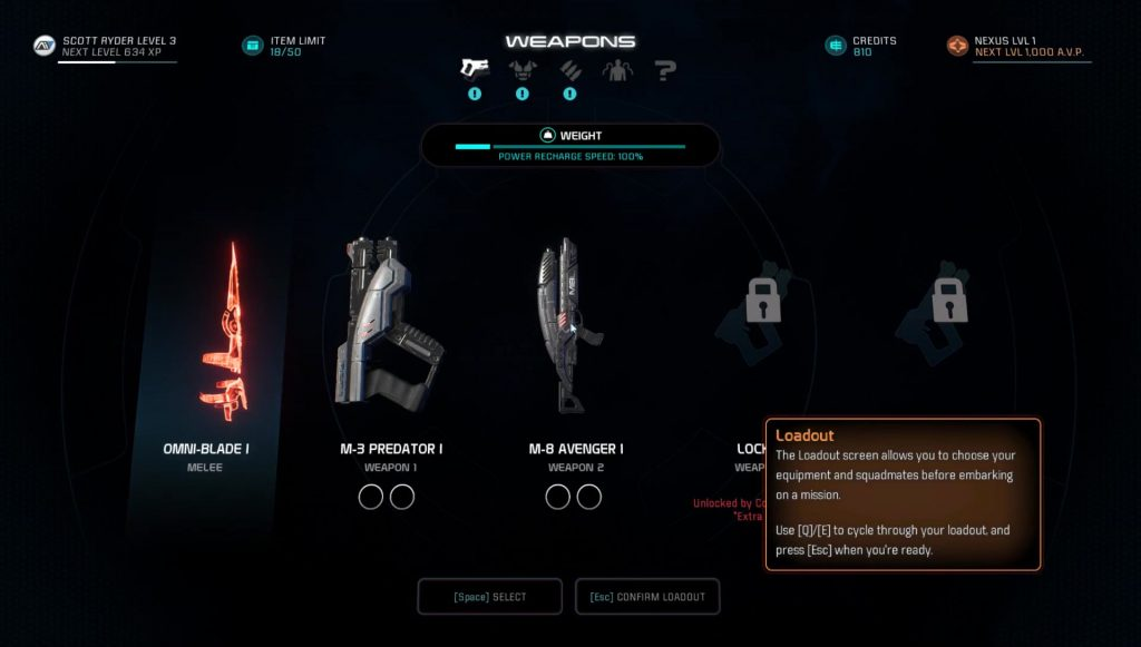 how to change weapons and armor in mass effect andromeda