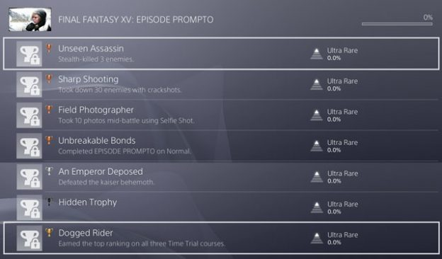 FFXV Episode Prompto Trophy Achievement List