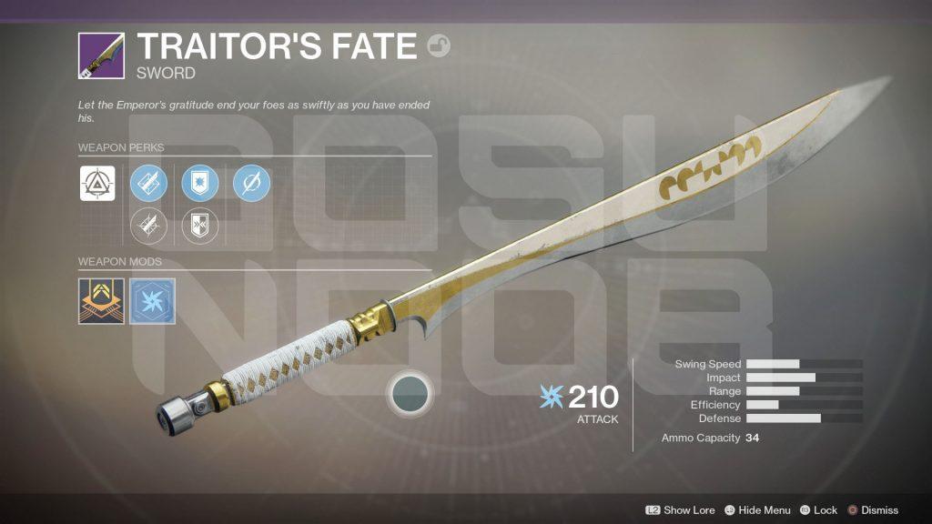 Destiny 2 Legenrady Sword Traitors Fate