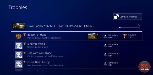 Final Fantasy XV Comrades Multiplayer DLC Achievements / Trophies