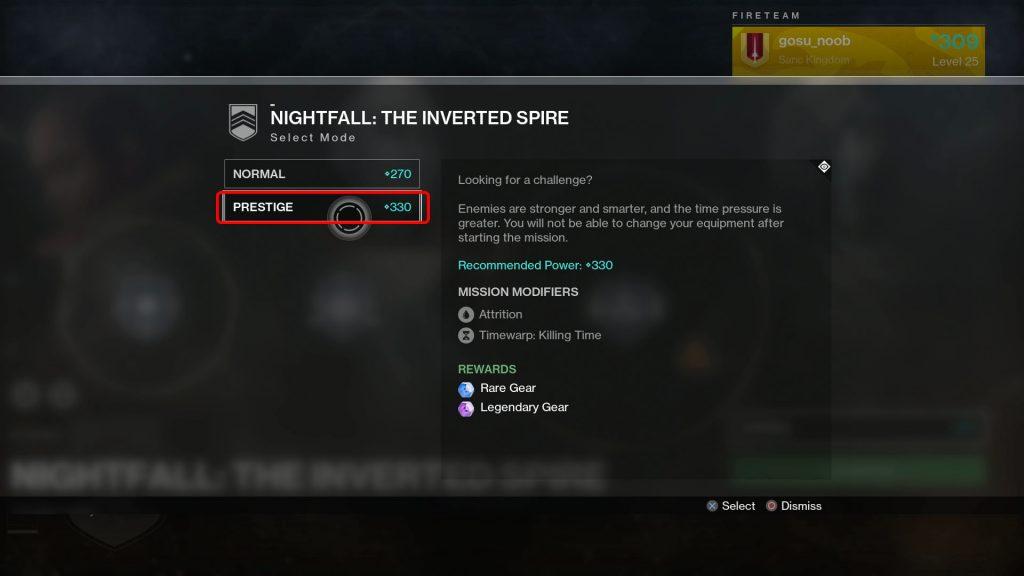 destiny 2 prestige raid nightfall power level requirements
