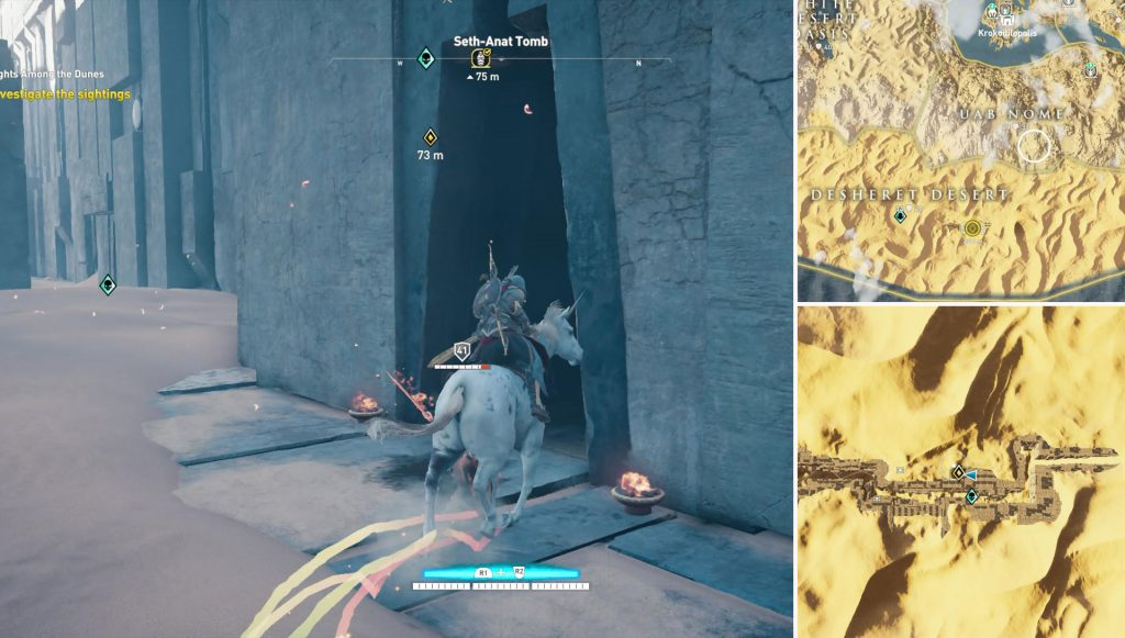 AC Origins Lights Among the Dunes Investigate the Sightings