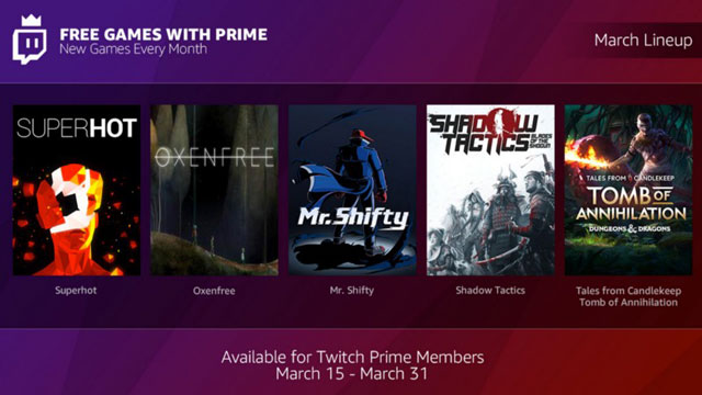 Twitch Prime Subscribers Now Getting With Free Games Every Month