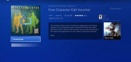 monster hunter world free character edit voucher