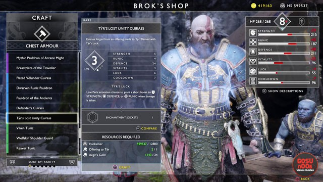 God of War Tyr Armor - How to Get Lost Unity Cuirass, Gauntlets, Belt