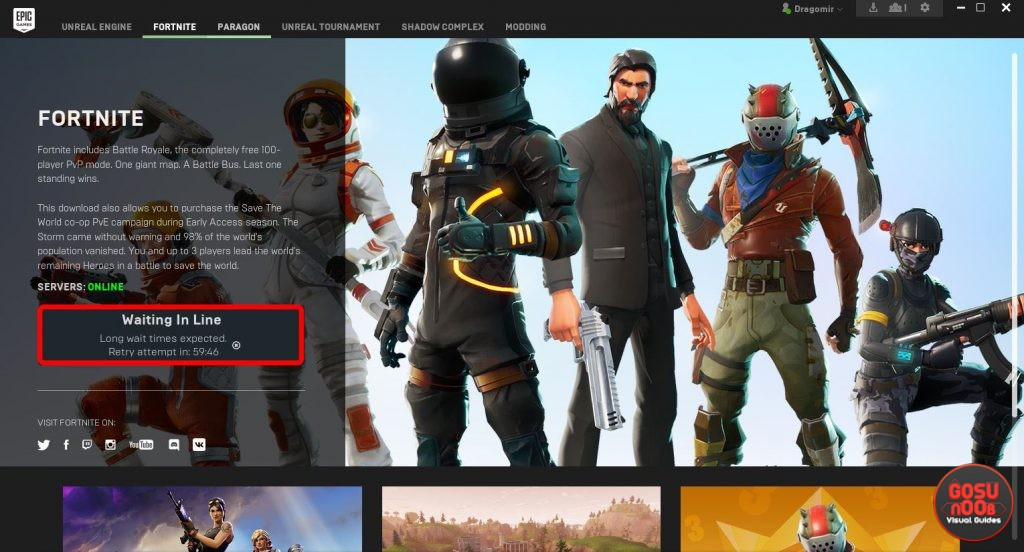 fortnite br server issues failed login one hour queue