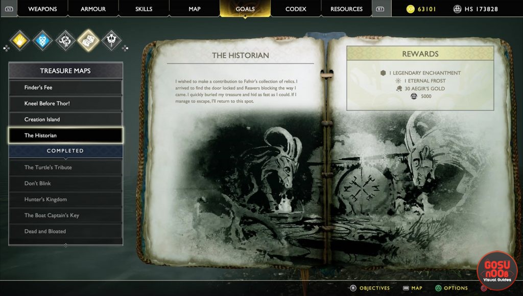 god of war historian treasure map