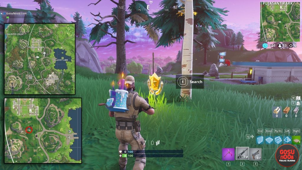 Fortnite Search between Gas Station Soccer Pitch Stunt Mountain Location map