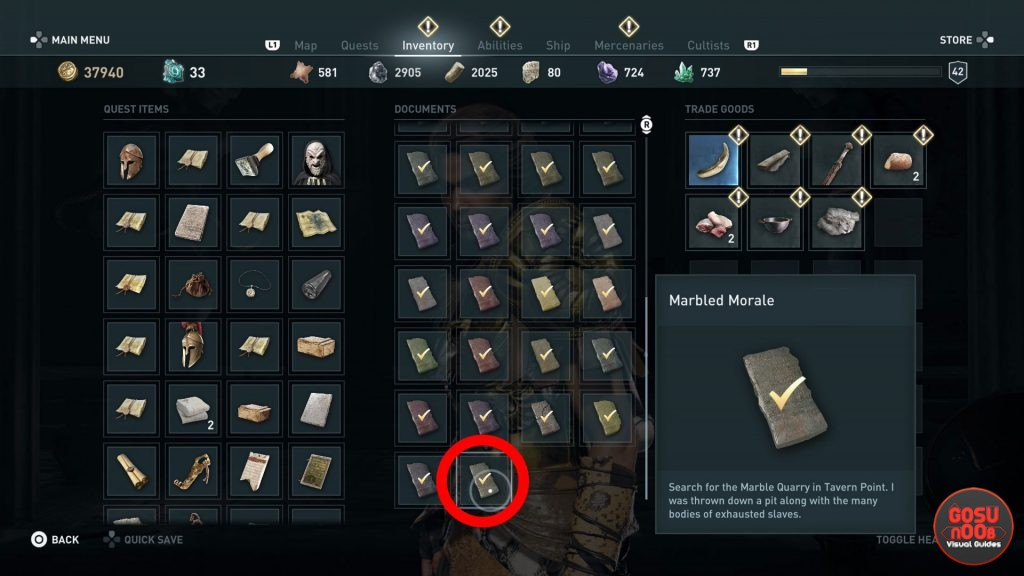 Assassin's Creed Odyssey Marbled Morale Riddle Solution - Porphyrion Cave Ainigmata Ostraka Location