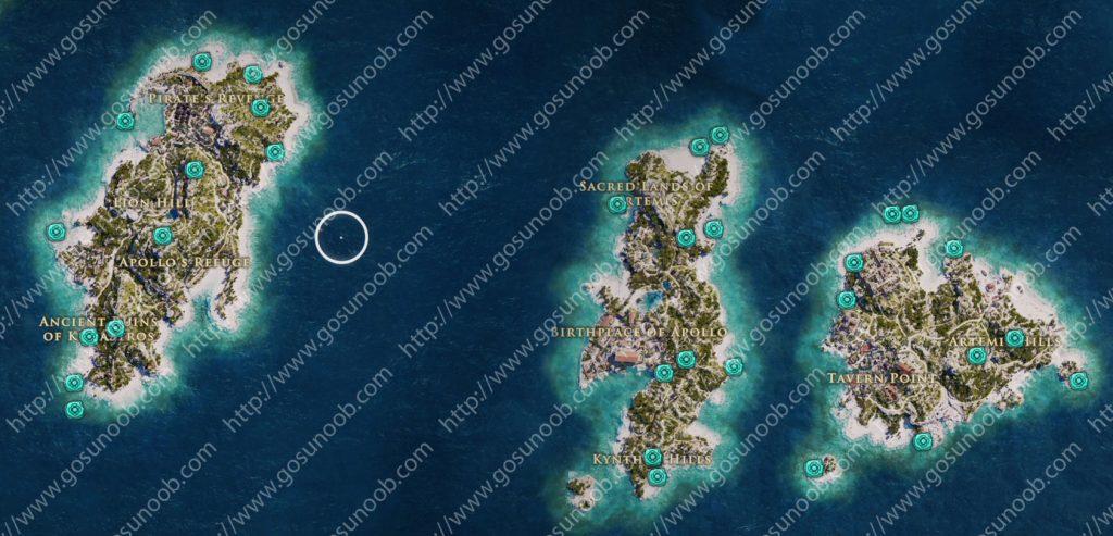 Keos Delos Mykonos Orichalcum Ore Fragment Locations Map Assassins Creed Odyssey Of