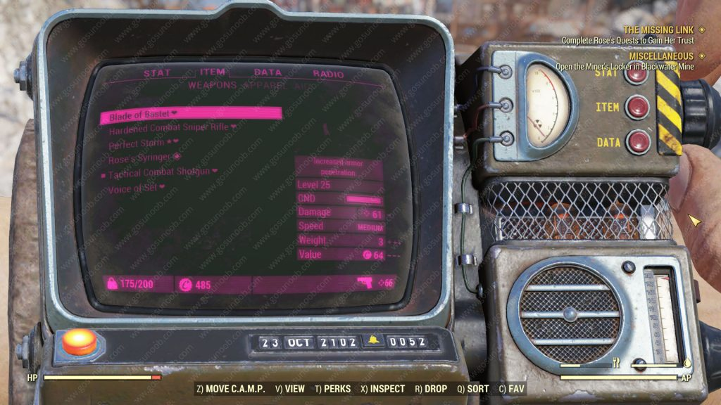fallout 76 how to change pip boy color