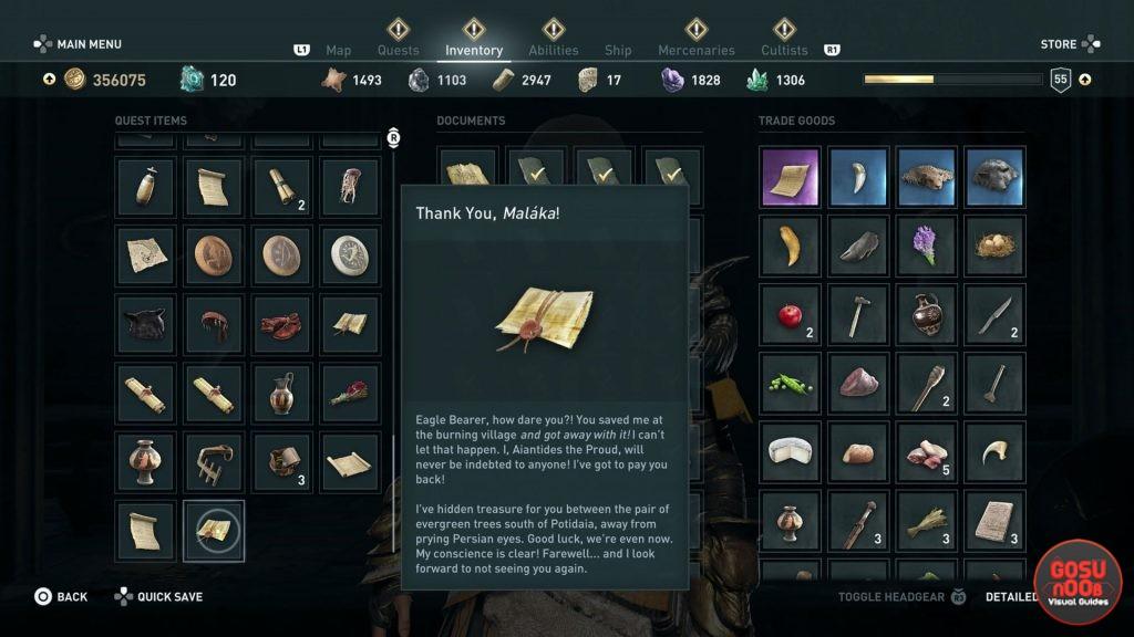 AC Odyssey Aiantides Treasure Location - Thank You Malaka Quest