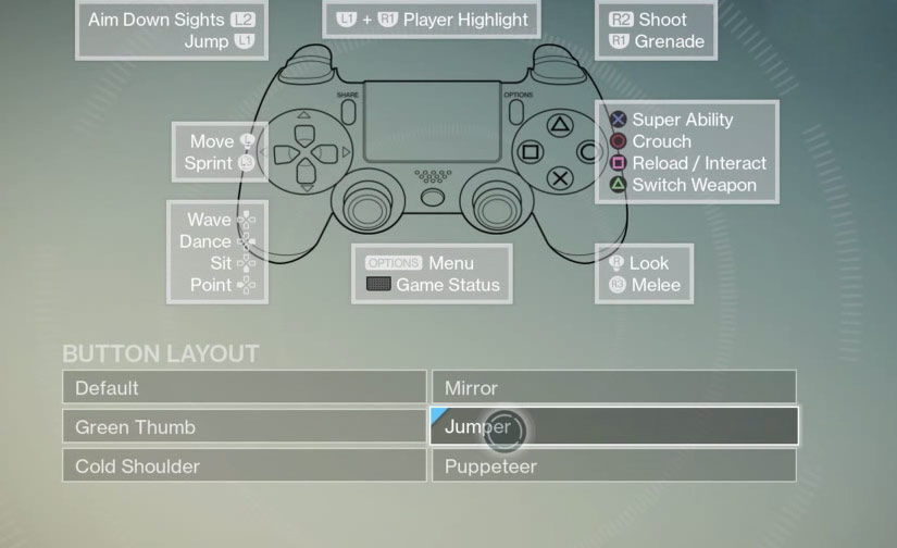 Destiny Controls on PS4, XboX, PS Vita and Alternate Schemes