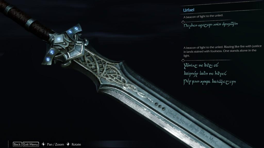 Shadow of Mordor Sword Legend