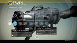 Truth Exotic Rocket Launcher Stats and look