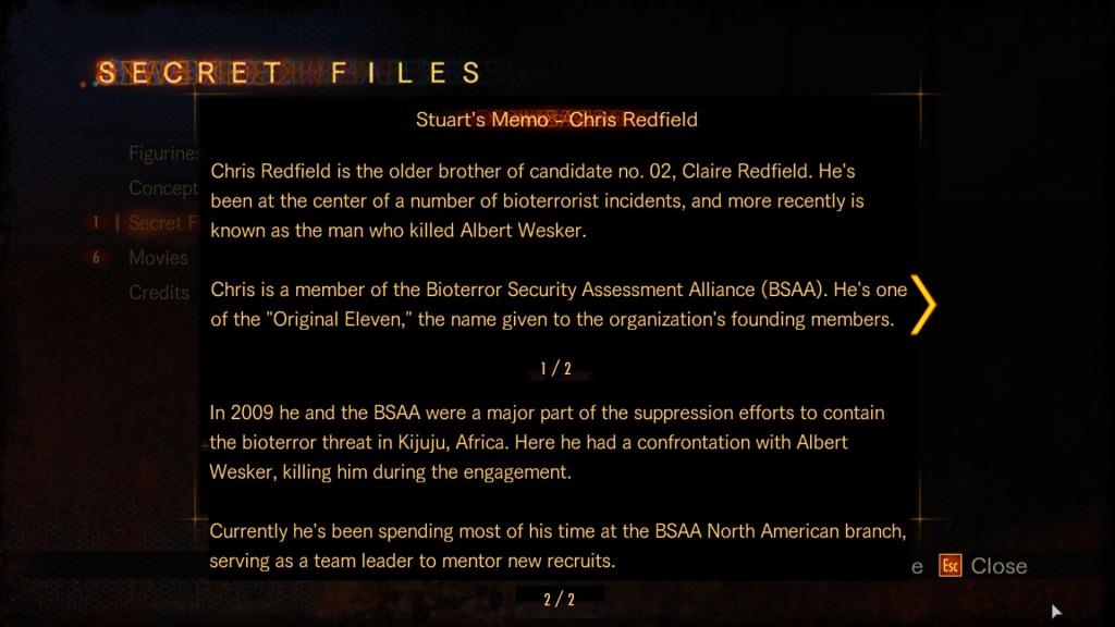 buggin out secret file chris redfield