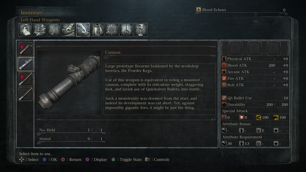 bloodborne cannon stats