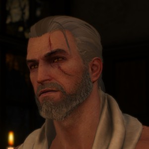 witcher 3 shaved except for a pony tail