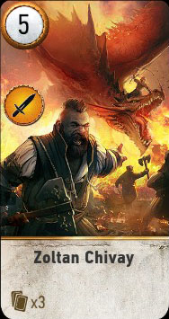 Witcher 3 Zoltan Chivay Ballad Heroes Gwent Card