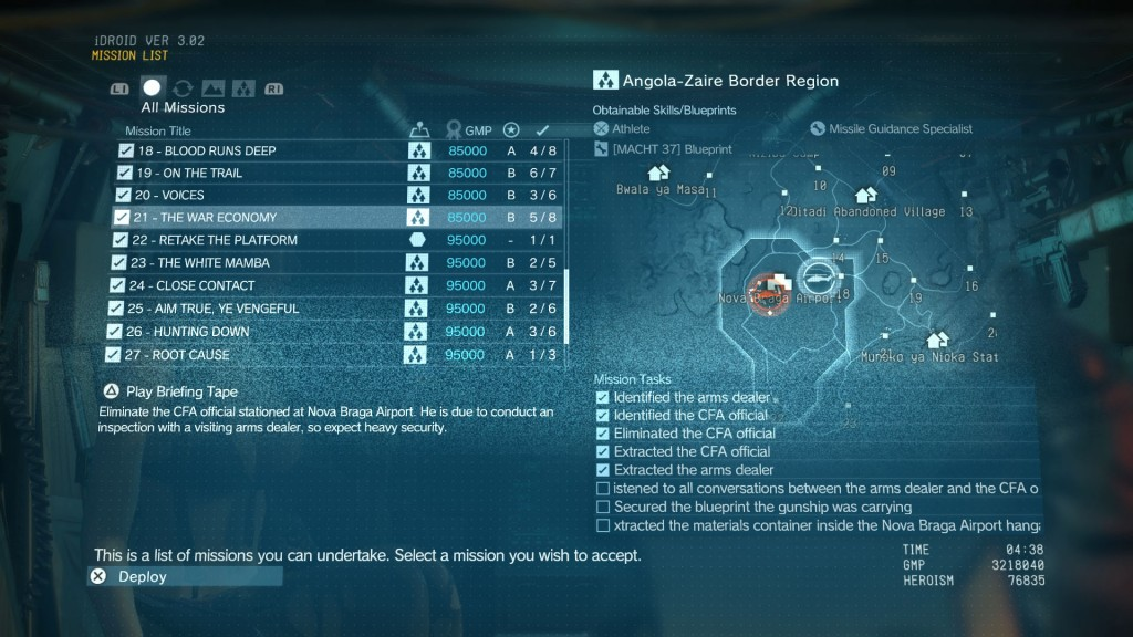 MGS 5 The Phantom Pain The War Economy Walkthrough