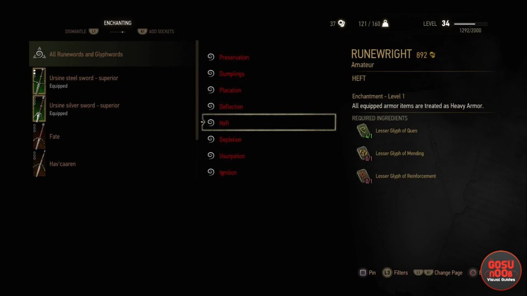 witcher 3 hearts of stone runeword glyphword enchantments guide