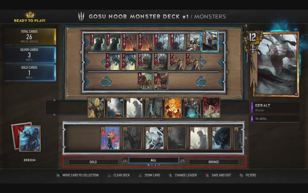 Gwent Deck Builder Selecting Cards
