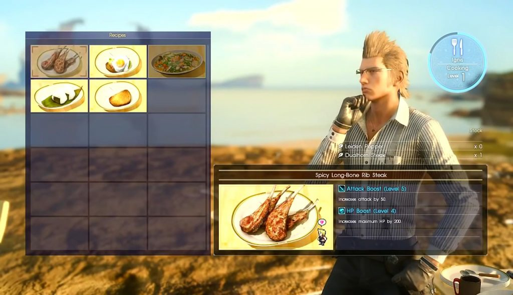 cooking recipes final fantasy xv