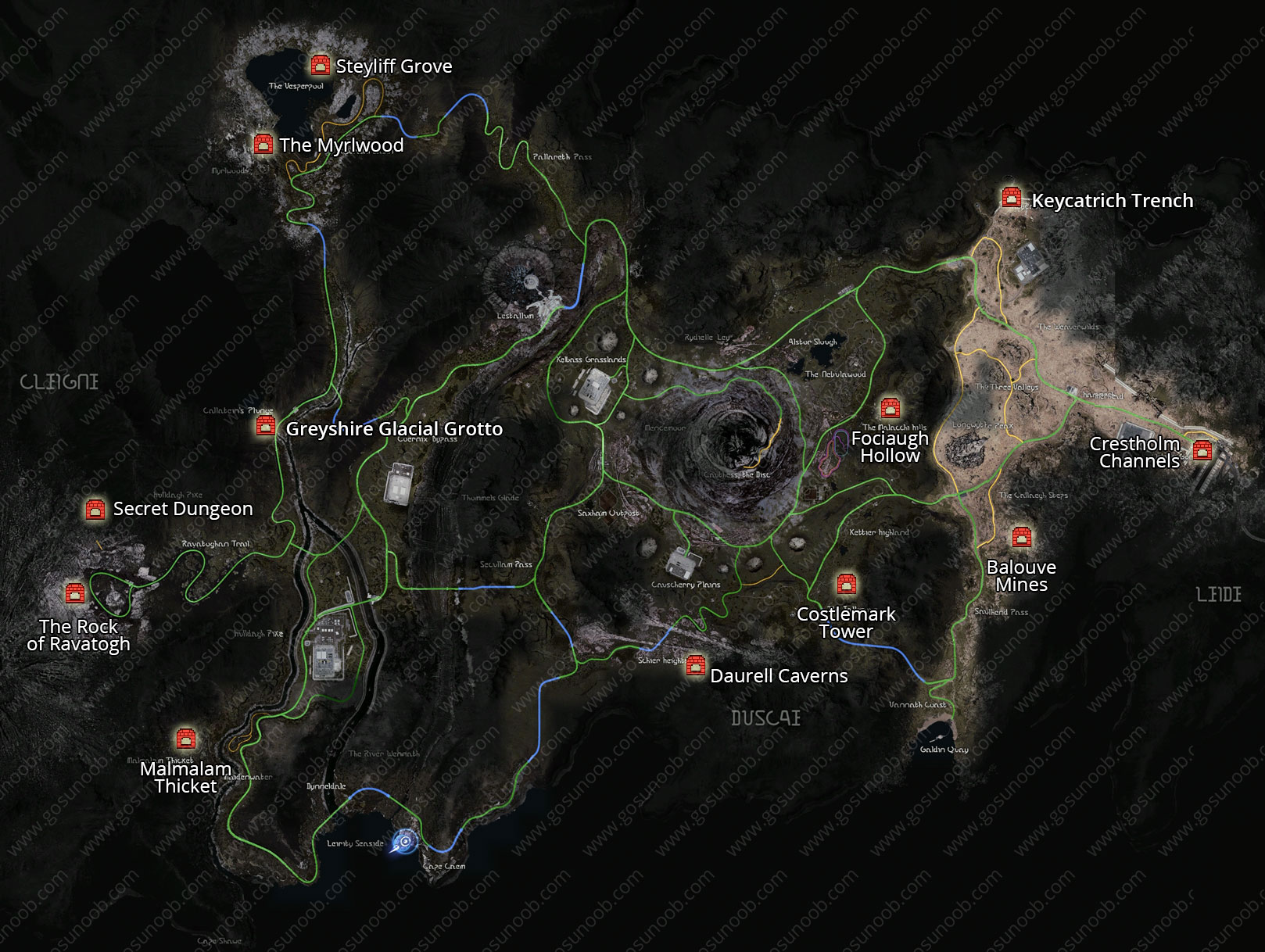 Dungeon Locations Map in Final Fantasy XV