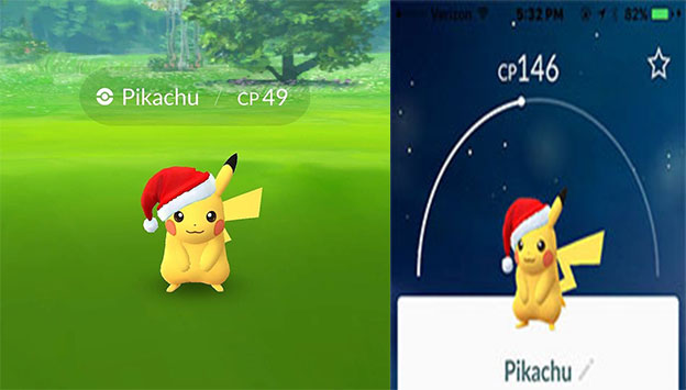 Pokemon Go Christmas Event.Pokemon Go Limited Edition Pikachu With Christmas Hat Event