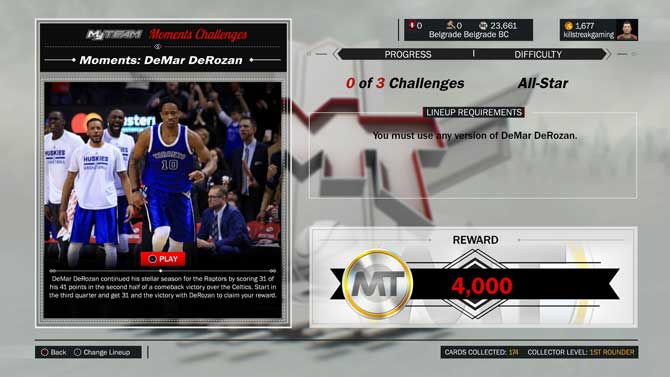 NBA 2K17 New Moments Challenge DeMar DeRozan