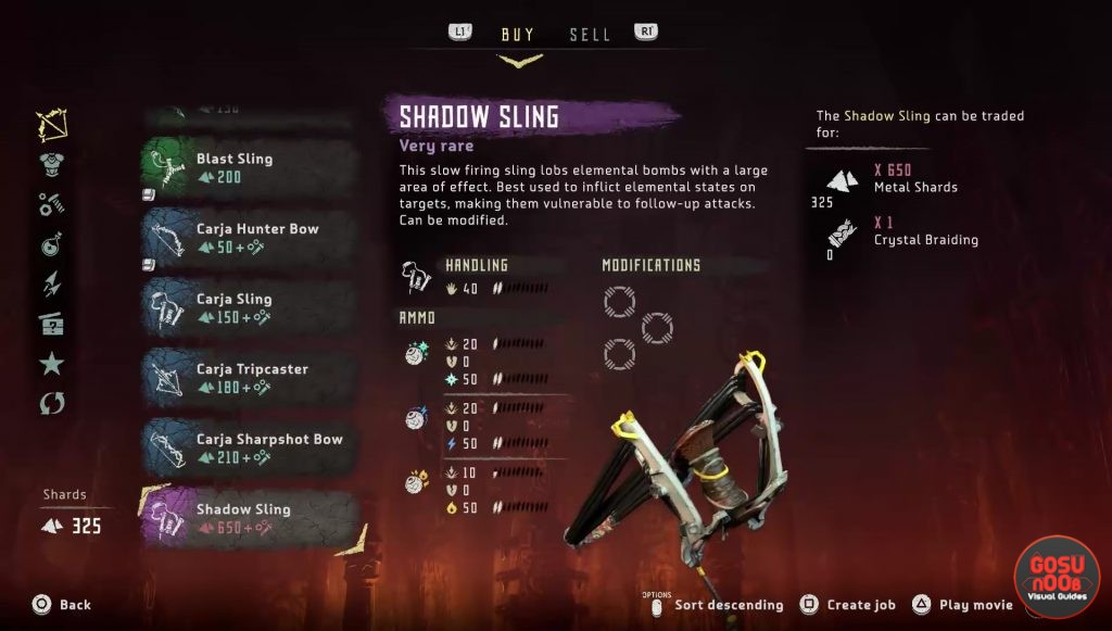 horizon zero dawn weapons list