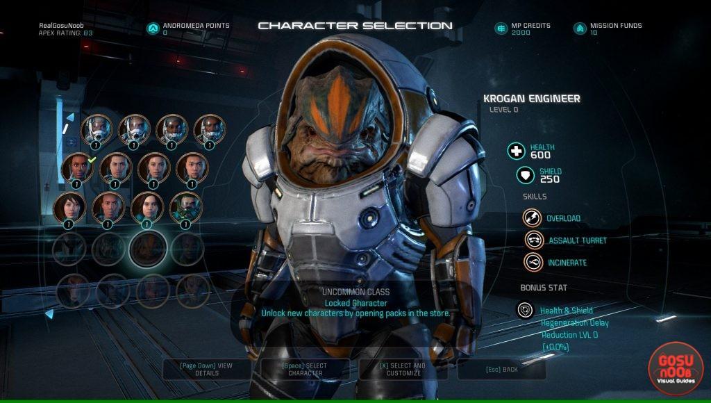 Character Selecion ME Andromeda Multiplayer