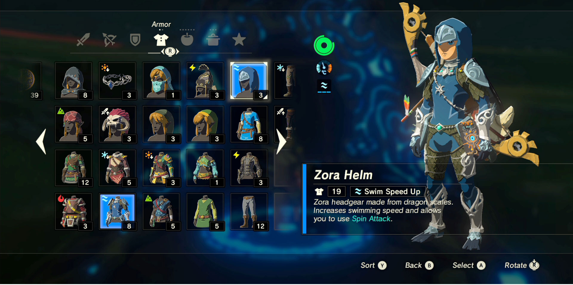 Zelda Botw Armor Sets >> Zelda Breath of the Wild Zora Helm, Greaves, Armor Set ...