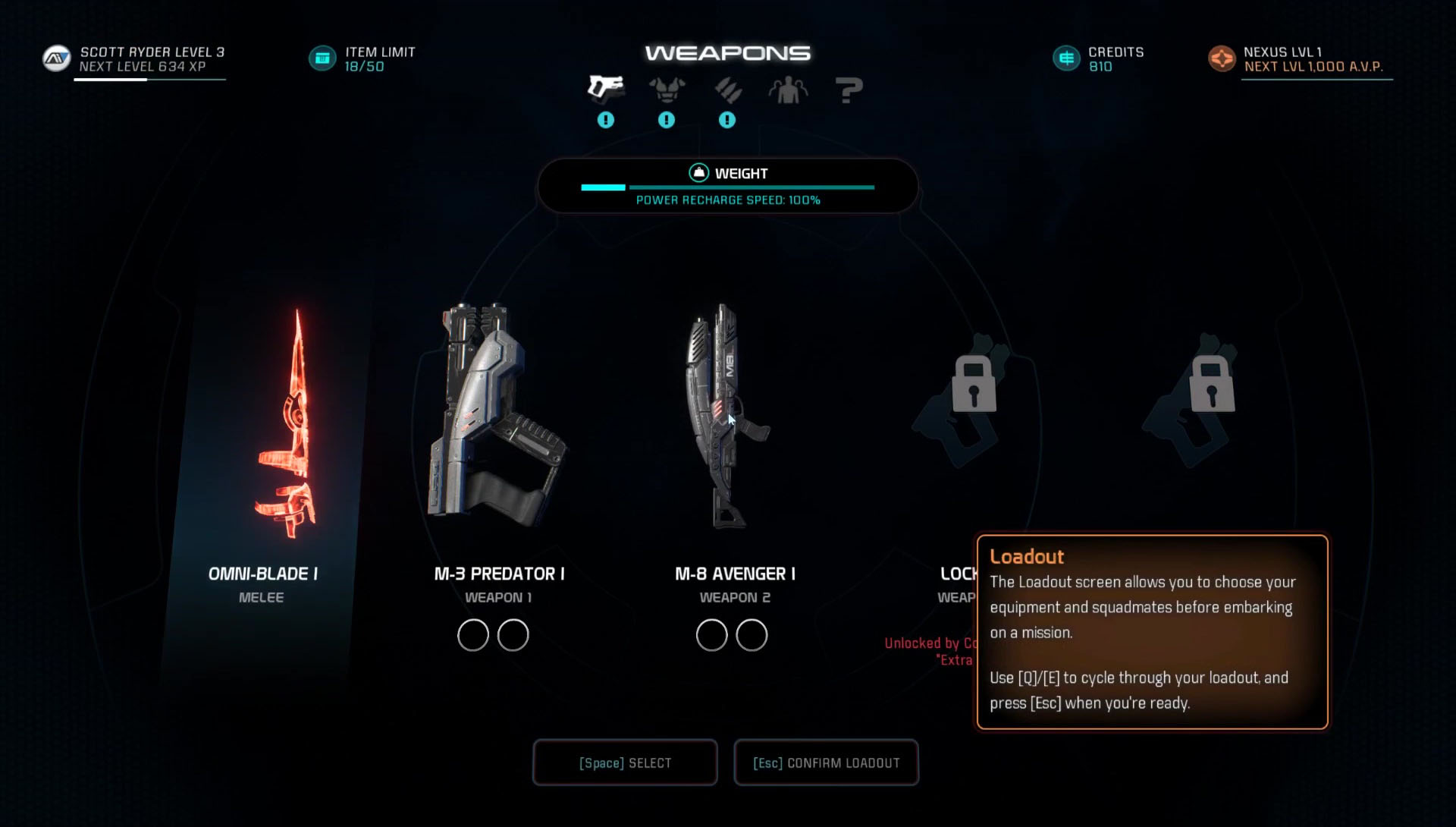 Mass Effect Andromeda How To Change Armor Amp Weapons